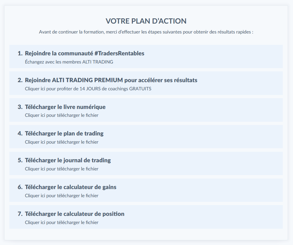 Plan d'action Alti Trading